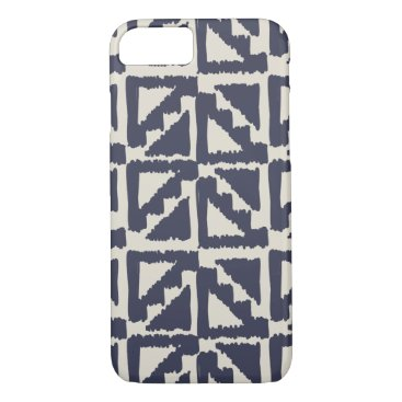 Aztec Themed Navy Blue Ivory Tribal Print Ikat Triangle Pattern iPhone 8/7 Case
