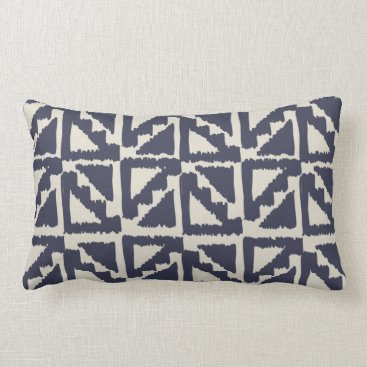 Aztec Themed Navy Blue Ivory Tribal Print Ikat Triangle Pattern Lumbar Pillow
