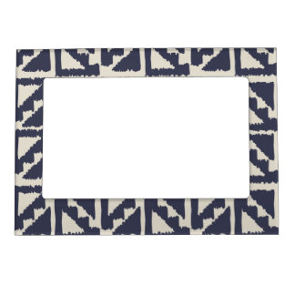 Navy Blue Ivory Tribal Print Ikat Triangle Pattern Magnetic Photo Frames