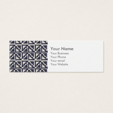 Aztec Themed Navy Blue Ivory Tribal Print Ikat Triangle Pattern Mini Business Card