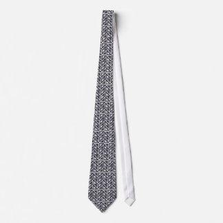 Navy Blue Ivory Tribal Print Ikat Triangle Pattern Neck Tie