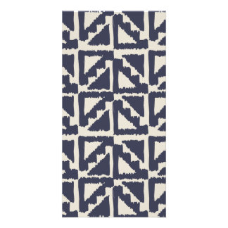 Navy Blue Ivory Tribal Print Ikat Triangle Pattern Picture Card