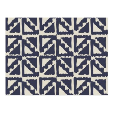 Aztec Themed Navy Blue Ivory Tribal Print Ikat Triangle Pattern Postcard