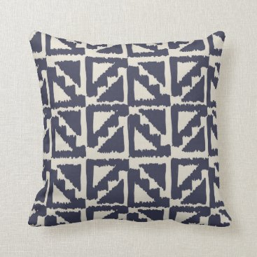 Aztec Themed Navy Blue Ivory Tribal Print Ikat Triangle Pattern Throw Pillow