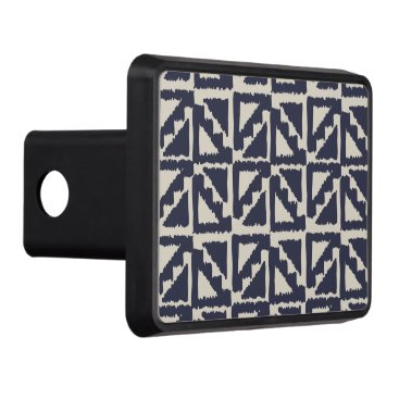 Aztec Themed Navy Blue Ivory Tribal Print Ikat Triangle Pattern Trailer Hitch Cover