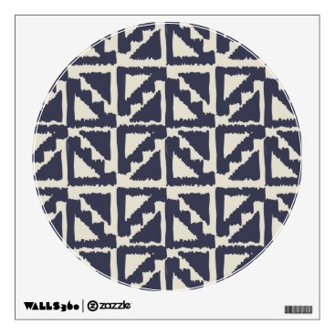 Aztec Themed Navy Blue Ivory Tribal Print Ikat Triangle Pattern Wall Decal