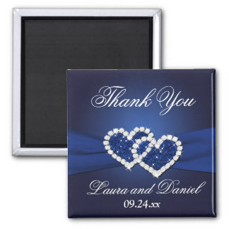 Navy Blue Joined Hearts Wedding Favor Magnet