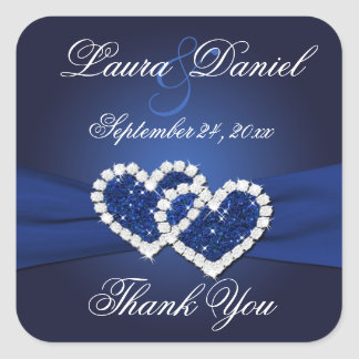 Navy Blue Joined Hearts Wedding Favor Sticker
