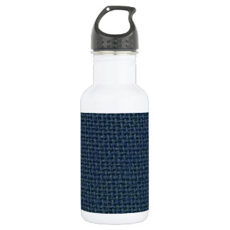 Navy blue jute burlap fabric look photo 18oz water bottle