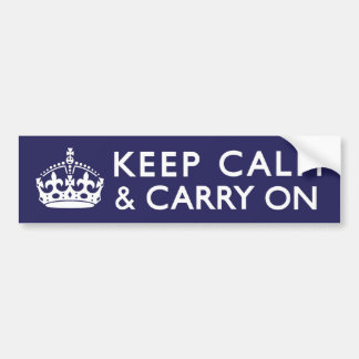 Navy Blue Keep Calm and Carry On Bumper Sticker