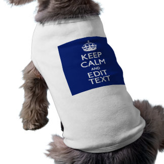 Navy Blue Keep Calm And Edit Text Personalized T-Shirt