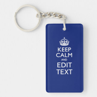 Navy Blue Keep Calm And Have Your Text Double-Sided Rectangular Acrylic Keychain