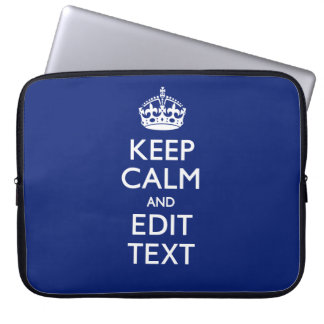 Navy Blue Keep Calm Have Your Text Personalized Laptop Computer Sleeves