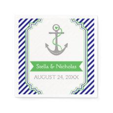 Navy blue, Kelly green anchor nautical wedding Standard Cocktail Napkin