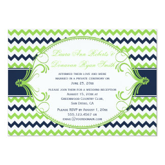 Navy Blue Kelly Green Chevron Reception Only 5x7 Paper Invitation Card