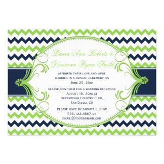 Navy Blue Kelly Green Chevron Reception Only Invites