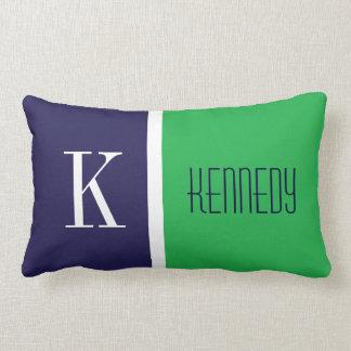Navy Blue Kelly Green Color Block Stripe Monogram Lumbar Pillow