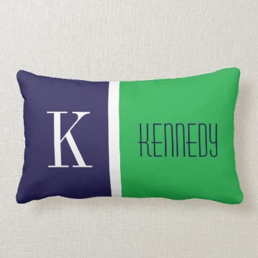 D_Zone_Designs Navy Blue Kelly Green Color Block Stripe Monogram Lumbar Pillow