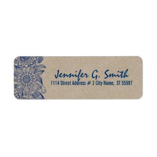 Navy Blue Lace & Beige Linen Burlap Texture 2 Return Address Label
