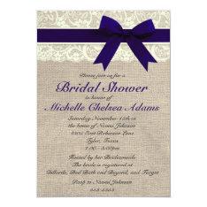 Navy Blue Lace Burlap Bridal Shower Invitation at Zazzle