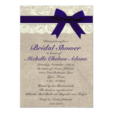 Navy Blue Lace Burlap Bridal Shower Invitation at Zazzle