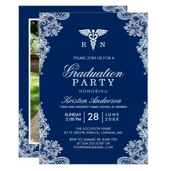 Navy Blue Lace Nursing School Graduation Party Card by CardHunter at Zazzle