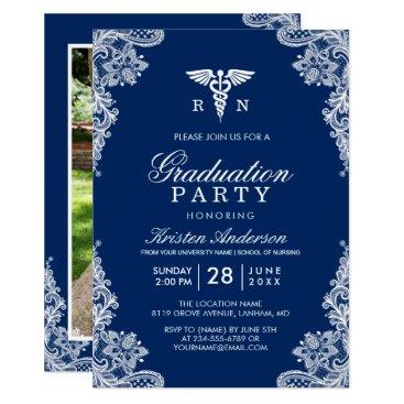 Christmas Themed Navy Blue Lace Nursing School Graduation Party Card