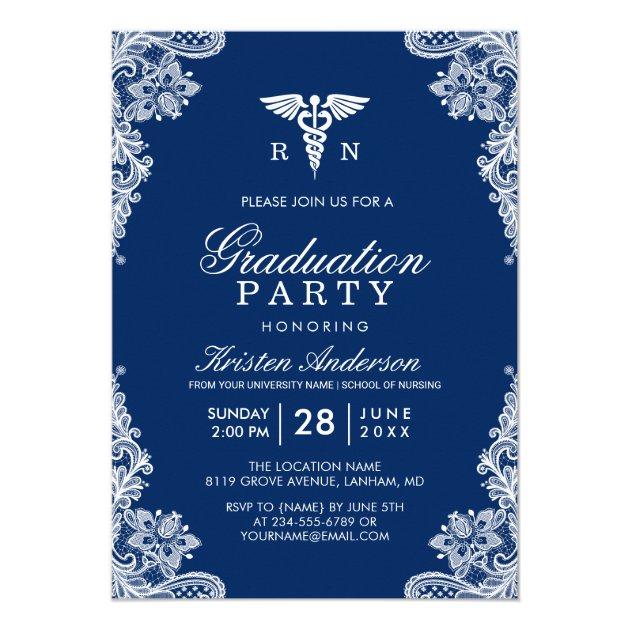 Navy Blue Lace Nursing School Graduation Party Card (back side)