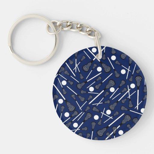 Navy blue lacrosse sticks keychains