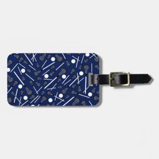 Navy blue lacrosse sticks luggage tag