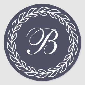Navy Blue Laurel Wreath with Custom Monogram Classic Round Sticker