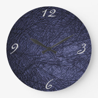 navy blue leather texture large clock