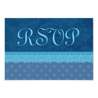 """Navy Blue Leaves Polka Dots and Lace Wedding 3.5"""" X 5"""" Invitation Card"""