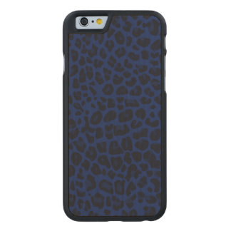 Navy blue leopard print carved® maple iPhone 6 slim case