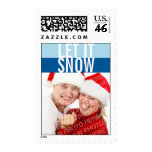 Navy blue Let it Snow photo holiday stamp
