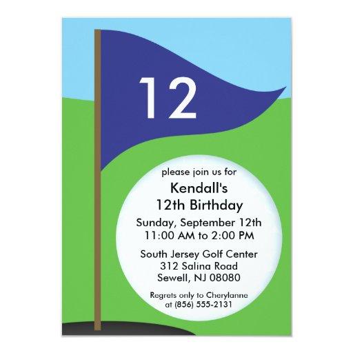 Navy Blue Let's Bogie Mini Golf Birthday Party 4.5x6.25 Paper Invitation Card