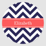 Navy Blue Lg Chevron Coral Red Name Monogram Classic Round Sticker