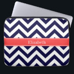 """Navy Blue Lg Chevron Coral Red Name Monogram Computer Sleeve<br><div class=""""desc"""">Navy Blue and White Large Chevron Zig Zag Pattern, Coral Red Ribbon Name Monogram Label Customize this with your name, monogram or other text. You can also change fonts, adjust font sizes and font colors, move the text, add text fields, etc. Please note that this is a digitally created graphic...</div>"""