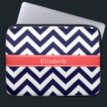 "Navy Blue Lg Chevron Coral Red Name Monogram Computer Sleeve<br><div class=""desc"">Navy Blue and White Large Chevron Zig Zag Pattern, Coral Red Ribbon Name Monogram Label Customize this with your name, monogram or other text. You can also change fonts, adjust font sizes and font colors, move the text, add text fields, etc. Please note that this is a digitally created graphic...</div>"