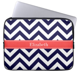 Navy Blue Lg Chevron Coral Red Name Monogram Computer Sleeve