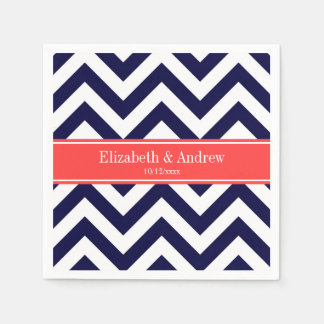 Navy Blue Lg Chevron Coral Red Name Monogram Napkin
