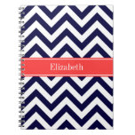 Navy Blue Lg Chevron Coral Red Name Monogram Notebook