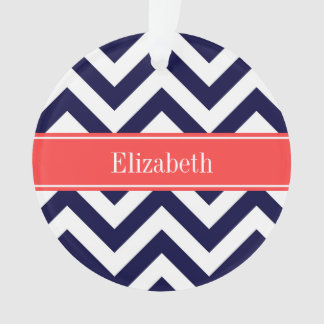 Navy Blue Lg Chevron Coral Red Name Monogram Ornament