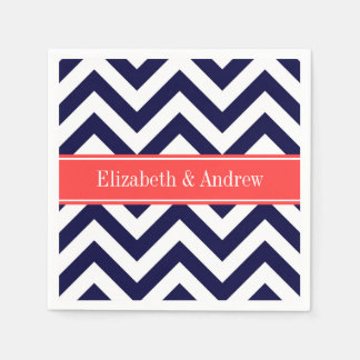 Navy Blue Lg Chevron Coral Red Name Monogram Paper Napkin