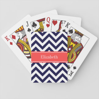 Navy Blue Lg Chevron Coral Red Name Monogram Playing Cards