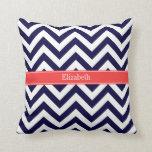 Navy Blue Lg Chevron Coral Red Name Monogram Throw Pillow
