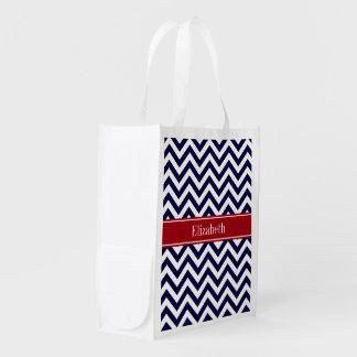 Navy Blue Lg Chevron Cranberry Name Monogram Reusable Grocery Bag