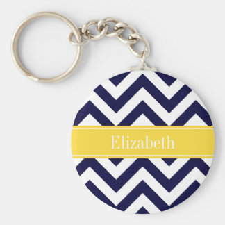 Navy Blue Lg Chevron Pineapple Name Monogram Keychain