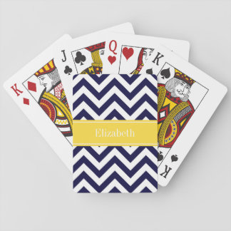 Navy Blue Lg Chevron Pineapple Name Monogram Playing Cards