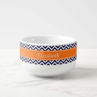 Navy Blue Lg Chevron Pumpkin Name Monogram Soup Bowl With Handle